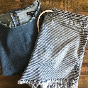 Denim Tunic Fringe Dress + Denim Upcycled Shorts
